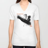 battlestar galactica V-neck T-shirts featuring LED GALACTICA by ClevaGurl
