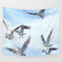 Gulls In Flight Watercolor Wall Tapestry