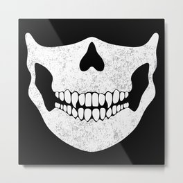 Skull Face Black and White Metal Print