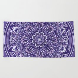 Great Purple Mandala Beach Towel
