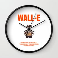 wall e Wall Clocks featuring Wall-E by FunnyFaceArt