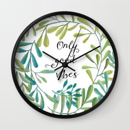 green leaves nature Wall Clock