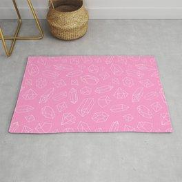 Pink Crystal Pattern Line Drawing Rug