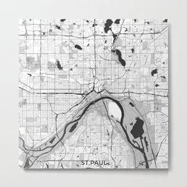 St Paul Map Gray Metal Print