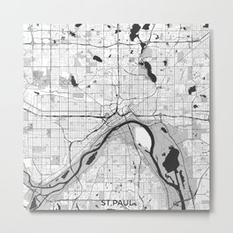 St Paul Map Gray Metal Print