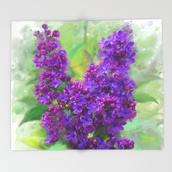 Watercolor Lilac Throw Blanket