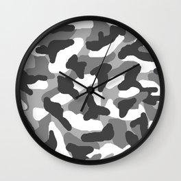 Grey Gray Camo Camouflage Wall Clock