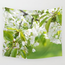 White cherry blossoms romance Wall Tapestry