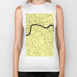 London Yellow on Black Street Map Biker Tank