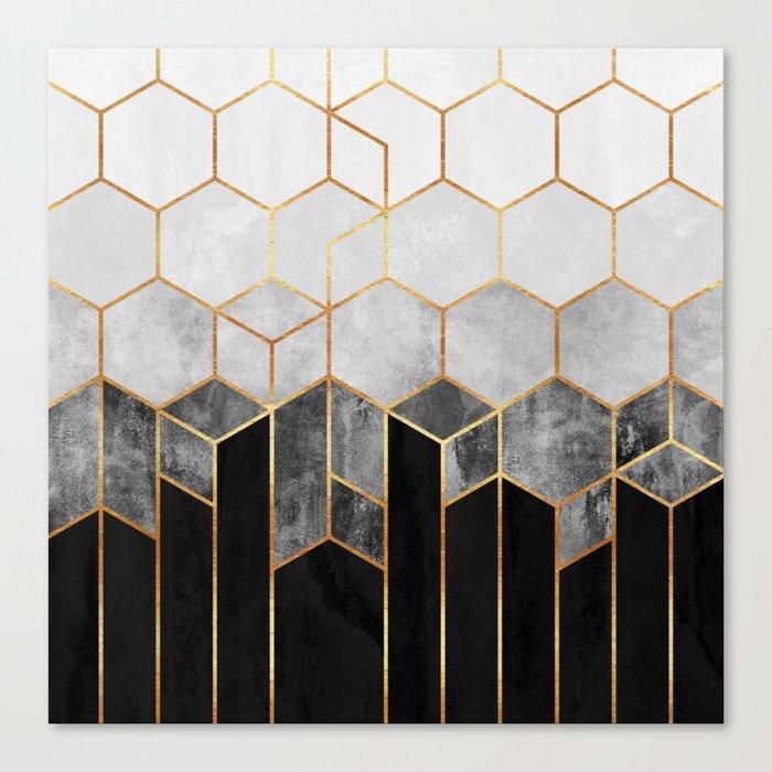 Charcoal Hexagons Leinwanddruck