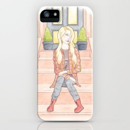 Sam, a 90s Grunge Music Fan in a Flannel Shirt, Band T-shirt, DM Boots Watercolor Illustration iPhone Case