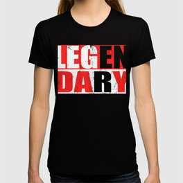 "Great Leg Day Shirt ""Legendary"" T-shirt Design Dumbbell Injury Injured Crutches Funny Fitness T-shirt"