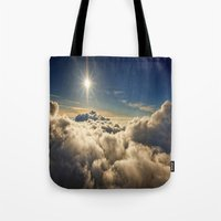 clouds Tote Bags featuring clouds by 2sweet4words Designs