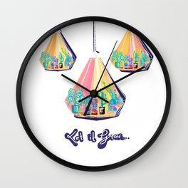Let It Grow - Cactus Terrarium Wall Clock