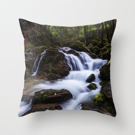 Magical waterfall in gorge Hell Throw Pillow