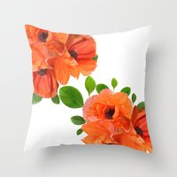 poppies Throw Pillows featuring Poppies by NoMoreWinters