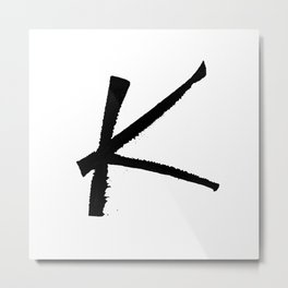 Letter K Ink Monogram Metal Print