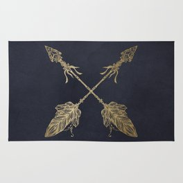Arrows Gold Copper Bronze on Navy Blue Rug