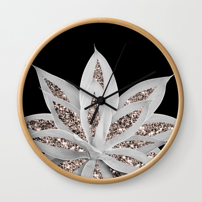 Gray Agave with Rose Gold Glitter #2 #shiny #tropical #decor #art #society6 Wall Clock