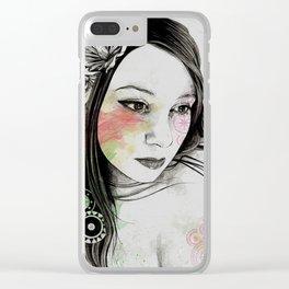 Treasure (young cute girl, magnolia & mandalas) Clear iPhone Case