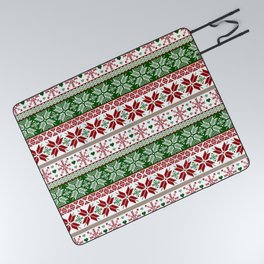 Green & Red Winter Fair Isle Picnic Blanket