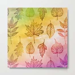 Colorful Autumn Leaf Watercolor Metal Print