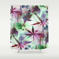 northern lights Shower Curtains featuring Northern Lights by Cannabis Color Art