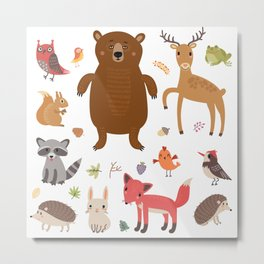 Forest Animals Metal Print