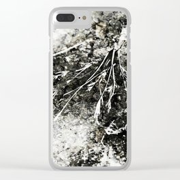 Grunge Monochrome Semi Abstract Nature Theme Clear iPhone Case