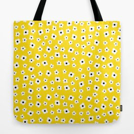 White Yellow Spring Flower Pattern Tote Bag