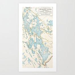 Vintage Muskoka Lakes Map Art Print