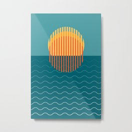 Minimalist Sunset Over Ocean, Travel Print, Sun Set Poster, Large Printable Photography, Wall Art Metal Print