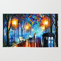 niall Area & Throw Rugs featuring STARRY NIGHT TARDIS by Andrian Kembara