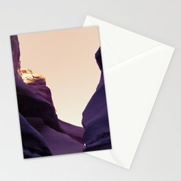 Dark purple rocks on sunset Stationery Cards