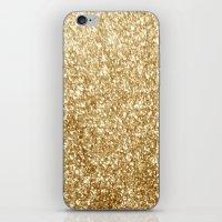 gold glitter iPhone & iPod Skins featuring Gold glitter by Masanori Kai