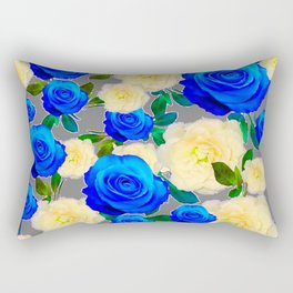 CHARCOAL GREY DECORATIVE WHITE & BLUE ROSE GARDEN Rectangular Pillow
