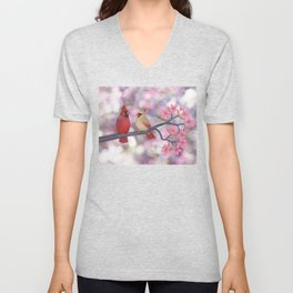 cardinals and crab apple blossoms Unisex V-Neck