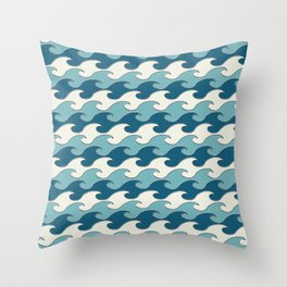 Silver Tipped Ocean Seaside Waves Cream Mist Americana Blue Beach Throw Pillow
