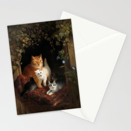 Mama Cat with Kittens Stationery Cards