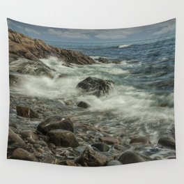 Waves Crashing against the Shore in Acadia National Park Maine Wall Tapestry