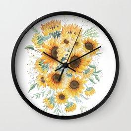 Loose Watercolor Sunflowers Wall Clock