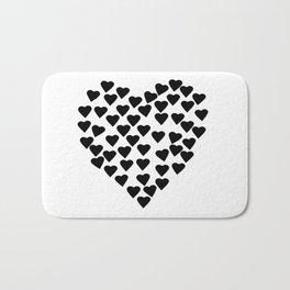 Hearts Heart Black and White Bath Mat