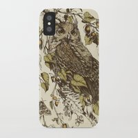 mushrooms iPhone & iPod Cases featuring Great Horned Owl by Teagan White
