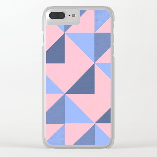 WOVEN PASTEL GEOMETRIC PATTERN Clear iPhone Case