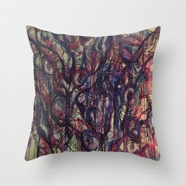 Watercolor Abstract Purple Flower Painting Throw Pillow