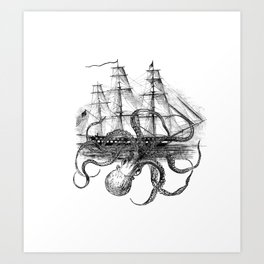 Octopus Attacks Ship on White Background Art Print