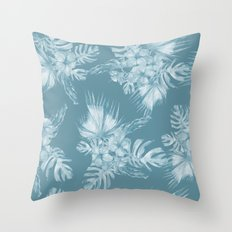 Teal Island Escape Palm Leaves + Flowers Throw Pillow