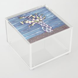 Blue Flowers in Vase Acrylic Box
