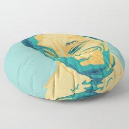James Baldwin Portrait Teal Gold Blue Floor Pillow