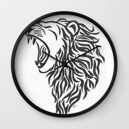 Roaring Tribal Lion Wall Clock